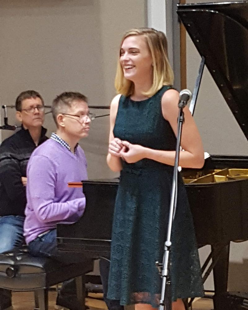 Mezzo-Soprano Ashley Kay Armstrong in IPR's North Studio singing a song from the musical Thoroughly Modern Millie with pianist Pedro Yanez and music director Daniel Kleinknecht