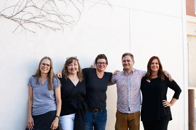 The 2018 class of Iowa Art Fellowship fellows. Mary Jones, Molly Wood, Lauren Haldeman, Noah Doely, Julia Franklin.