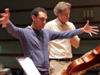 Composer Mohammed Fairouz, working with musicians at Grinnell College.