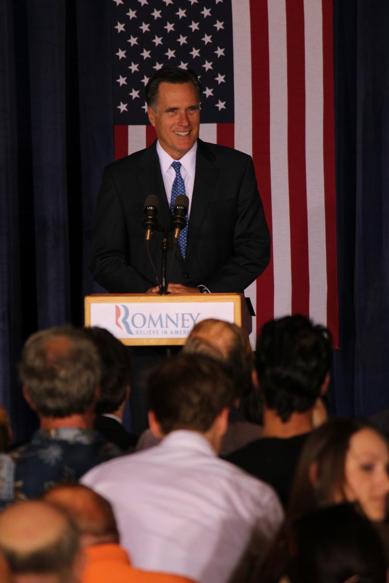 Presumptive GOP presidential candidate Mitt Romney speaks to voters in Des Moines on May 15, 2012