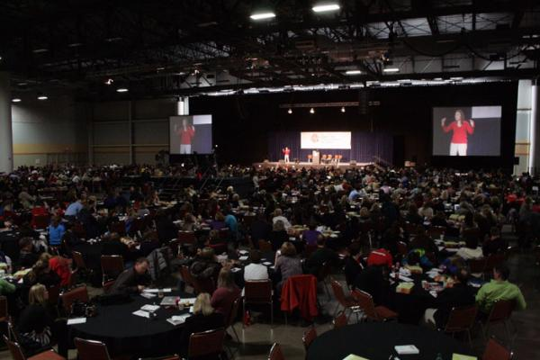 Parenting and Bullying Expert Rosalind Wiseman talks to a crowd of more than 1100 at the Hy-Vee Hall in downtown Des Moines
