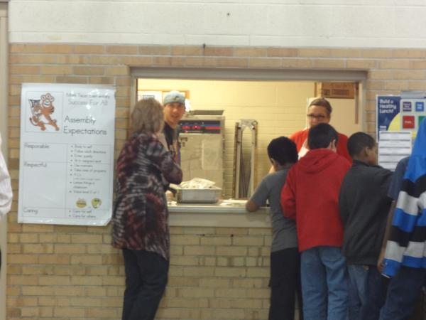 Lunchtime at Mark Twain Elementary in Iowa City. Twain has the highest percentage of children on free and reduced lunch in the district.