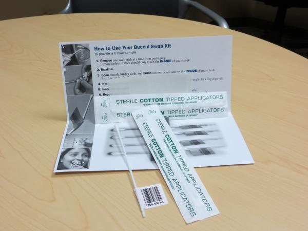Kits like these are used at bone marrow registry events. They include simple cotton swabs used to match donors with those who need a transplant.