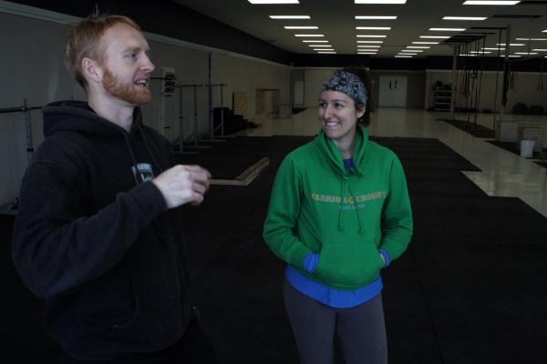 Jacob and Sarah Garvin, owners of Warrior Crossfit gym in Mustcatine, talk about their expected baby on March 28, 2013.