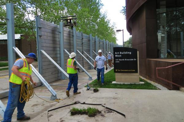 The University of Iowa's Arts Center now has a steel flood wall to protect its buildings from possible flood waters.  Because the arts campus was profoundly damaged during the 2008 flood, University officials are being extra protective.   5/30/2013