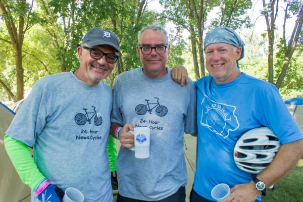 Don Gonyea, Scott Horsley and Brian Naylor spoke to IPR at their RAGBRAI campsite in Des Moines, July 23, 2013