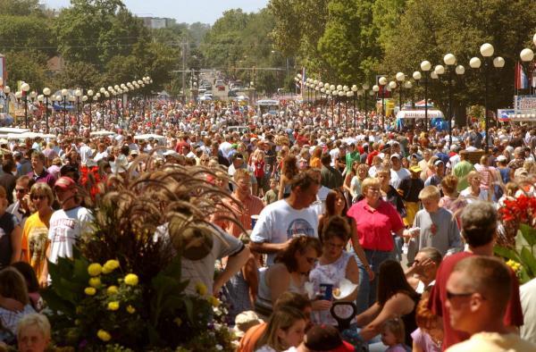 Crowds at the Iowa State Fair.