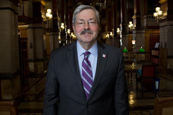 Iowa Republican Governor Terry Branstad in the statehouse law library.
