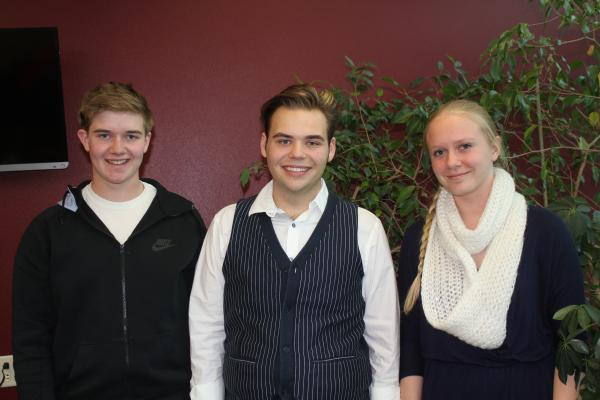Decorah High School students Simon Cropp, Sam Iverson and Briana Burke are involved with their school's local food efforts.