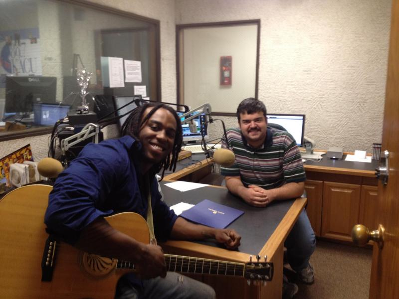 Kirk House (left) in the studio with host Blane Singletary (right) just before recording a segment for Eye on Entertainment.