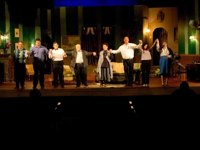 "The cast of Agatha Christie's ""The Mousetrap"" take a bow after a grand performance. (left to right: Tony Redman, Blane Singletary, Jake Wade, Casey Voce, Pam Brown, Eddie Templeton, Chandi Chandler, Susan Herman)"
