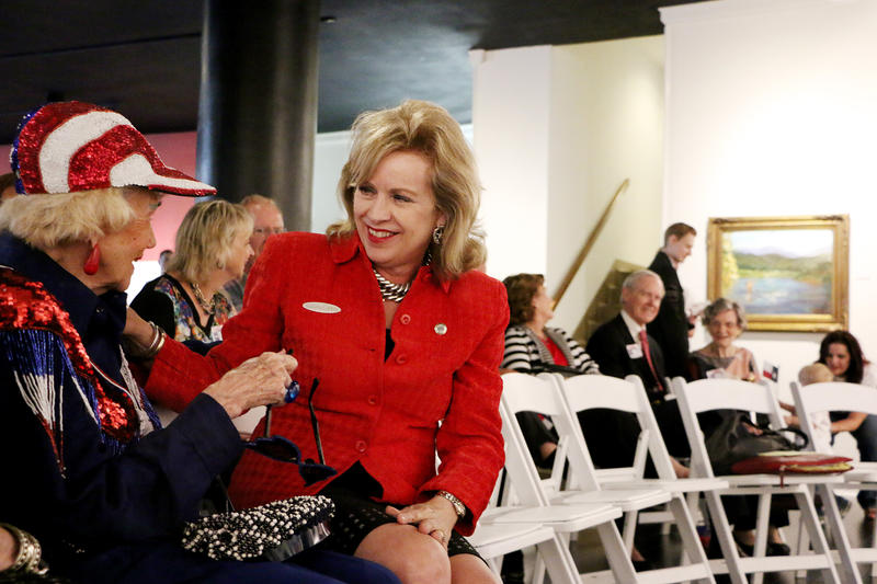 (Photo by Joy Bonala) State Representative Susan King greets Roy Helen Ackers during a conference to announce King's decision to run for Texas Senate District 24 Monday, September 28, 2015 at the Center For Contemporary Arts.