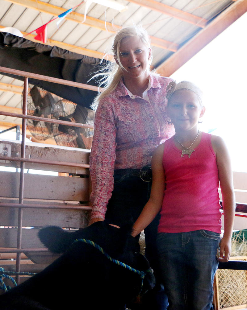 (Photo by Emily Guajardo) Teri Hollis and her daughter, Ryli,8, prepare their heifers for the open angus show Monday, September 14, 2015 at the West Texas Fair & Rodeo.