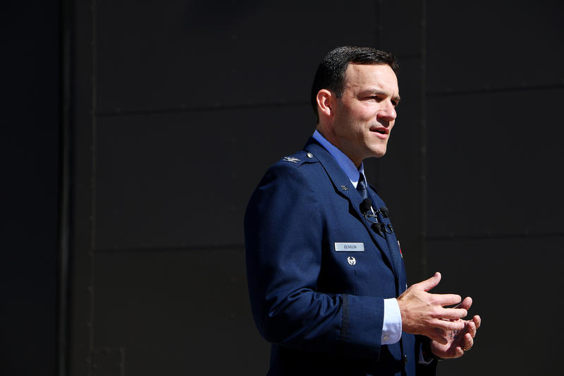 (Photo by Joy Bonala/KACU) Col. David Benson addresses the media before assuming command of the 7th Bomb Wing Thursday, October 29, 2015 at Dyess Air Force Base.