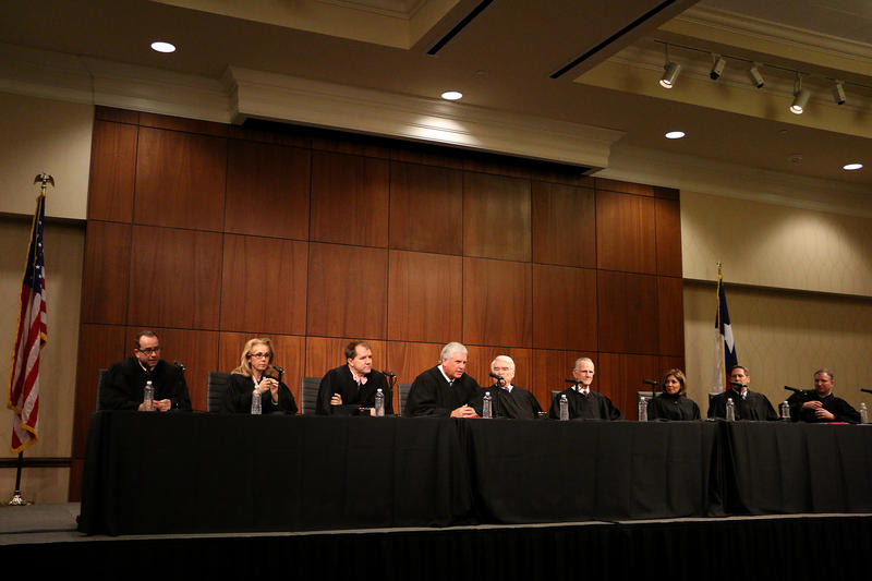 (Photo by Joy Bonala/KACU) The Texas Supreme Court hears two cases Friday, November 13, 2015 at Abilene Christian University.