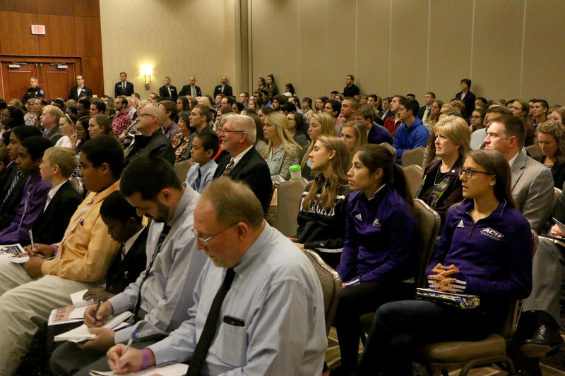 (Photo by Joy Bonala/KACU) An audience sits in to hear the Texas Supreme Court hears two cases Friday, November 13, 2015 at Abilene Christian University.