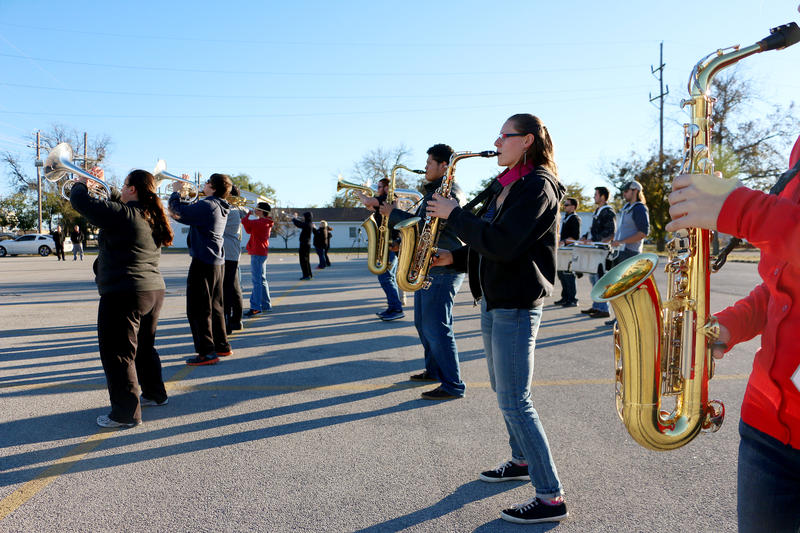 (Photo by Joy Bonala) The McMurry University Marching Band runs through a rehearsal of the New Year's Day performance on Wednesday, December 2, 2015 at McMurry University.