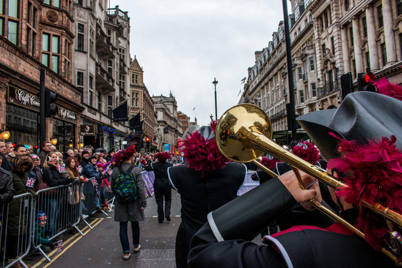 (Photo by Dillon Foster) The McMurry Marching Band performs during the London New Year's Day Parade.