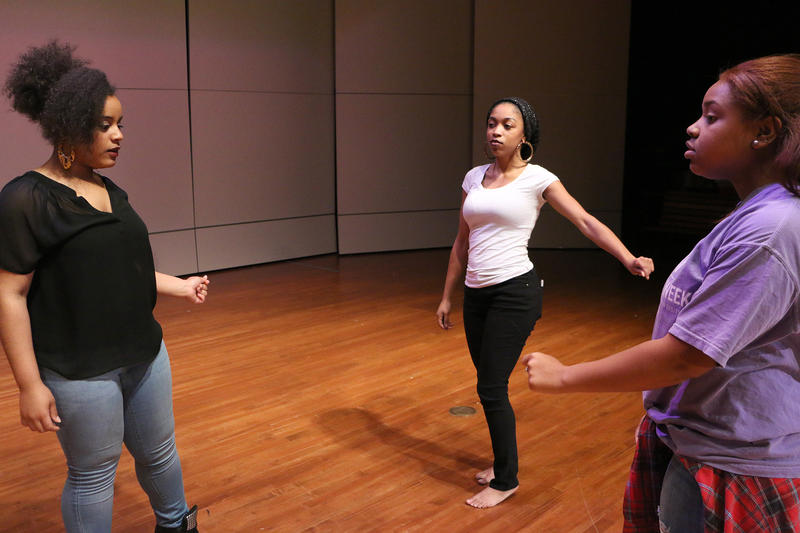"(Photo by Joy Bonala) Teonna Murphy, from left, Jasmine Washington and Amber Robinson rehearse songs as the ""blues sisters"" in ""Testify"" on Saturday, February 27, 2016 at Abilene Christian University's Cullen Auditorium."