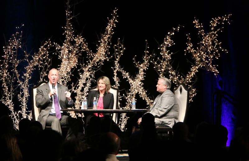(Photo by Trevor Wyatt) Former Buffalo Bills quarterback Jim Kelly and his wife, Jill Kelly, talk with Danny Sims during the annual fundraiser for Global Samaritan Resources Tuesday, October 25, 2016 at Abilene Christian University.