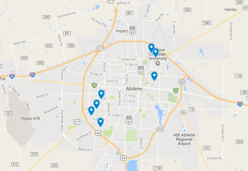 Abilene ISD board of trustees are mostly concentrated into the Abilene High School district.