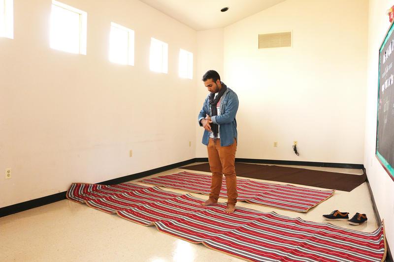 (Photo by Joy Bonala) Sultan Albogami prays in the prayer room at McMurry University on Thursday, January 19, 2017.
