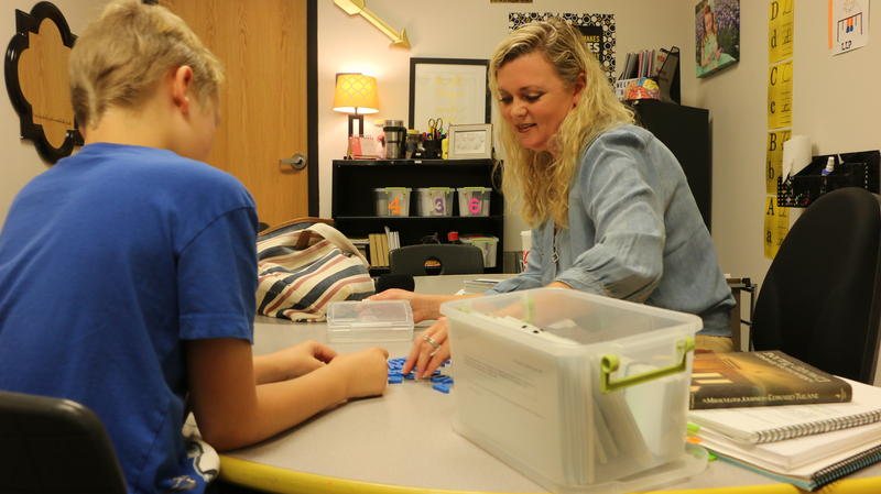 Kelley Mersinger works on dyslexia intervention with one of her students at Goldthwaite Elementary School.