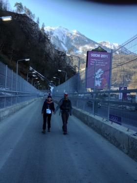 We had to walk through a many security check points to get into the chain linked, enclosed walkway leading to the gondola to access the Athletes Village.