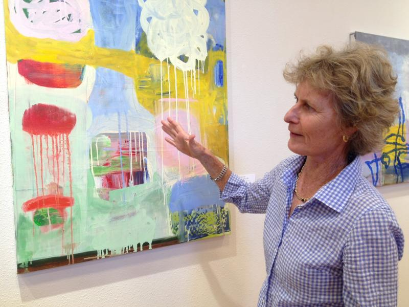 At the Wyly Community Art Center, artist Betsy Chaffin discusses a piece called Thank You, JHC.