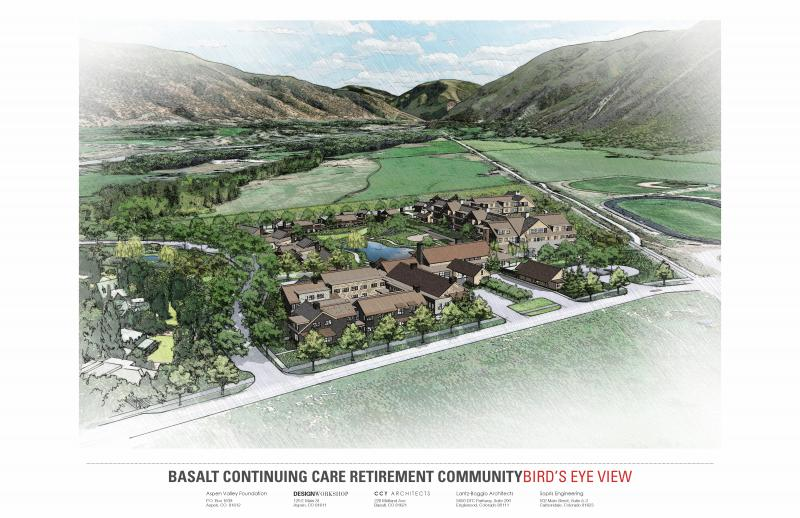 A bird's eye view of a planned continuing care retirement community in Basalt.