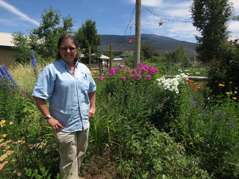 Kim Bock with some of the flowers at her El Jebel home.