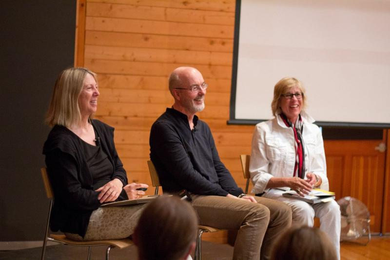 Kira Perov, Bill Viola and Nancy Wilhelms in conversation at the Anderson Ranch Featured Artist Lecture.