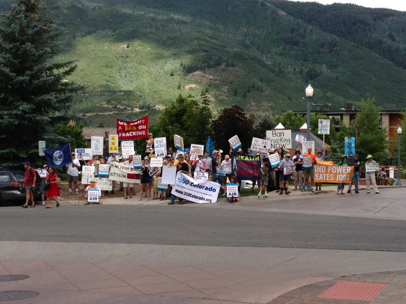 Saturday's anti-fracking protest as seen from the St. Regis Hotel, where members of the Democratic Governors Association were meeting.