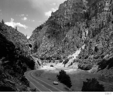 In 1969, drivers navigated Glenwood Canyon via a two-lane paved road.