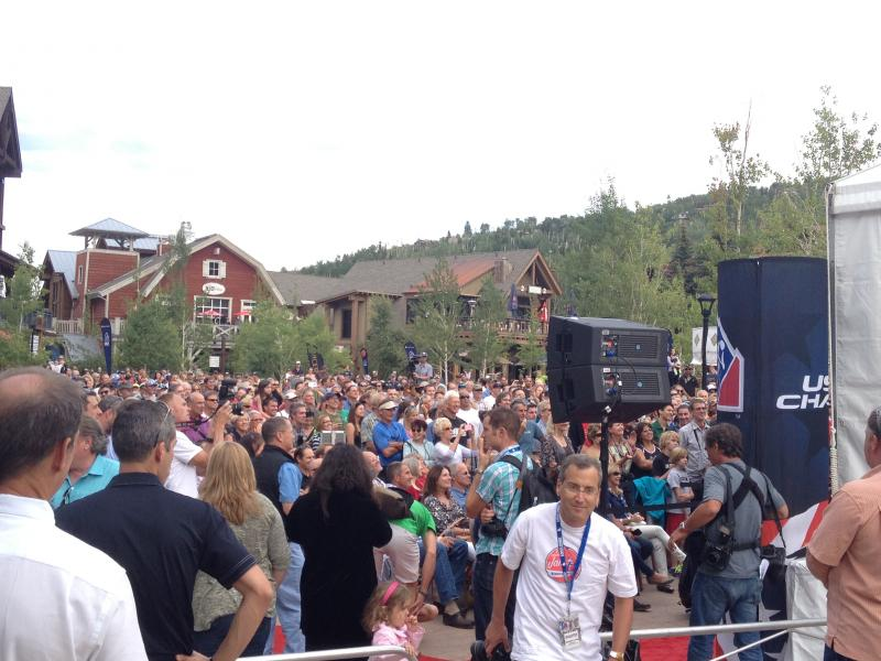 Crowd watches opening ceremonies for 2013 USA Pro Challenge. Snowmass Village, August 17th, 2013.