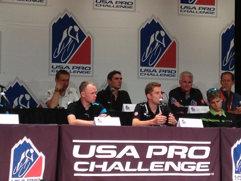 Chris Froome, front left, and Christian Vande Velde, front right, during August 18th USA Pro Challenge press conference. Vande Velde is the 2012 Pro Challenge champion.