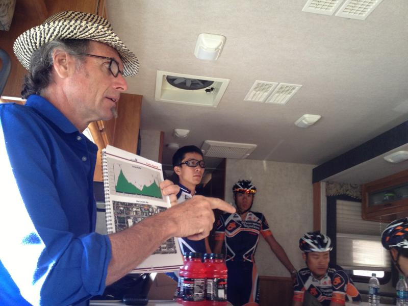General Manager Ed Beamon at morning meeting for Champion System Pro Cycling team. August 20th, 2013.