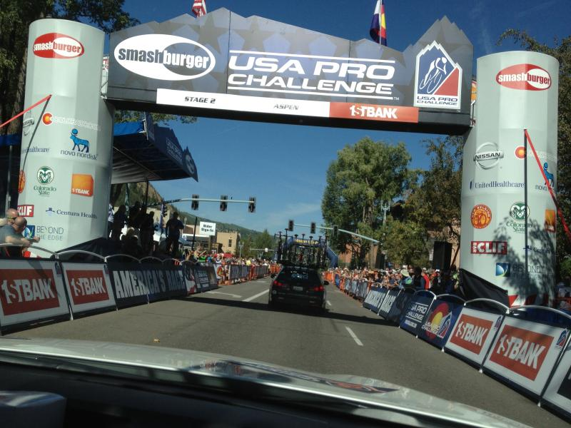 Beginning of Stage 2, 2013 USA Pro Challenge in Aspen.