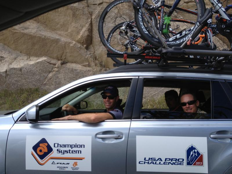 Chris Wherry and passengers in second team car, Team Champion System.