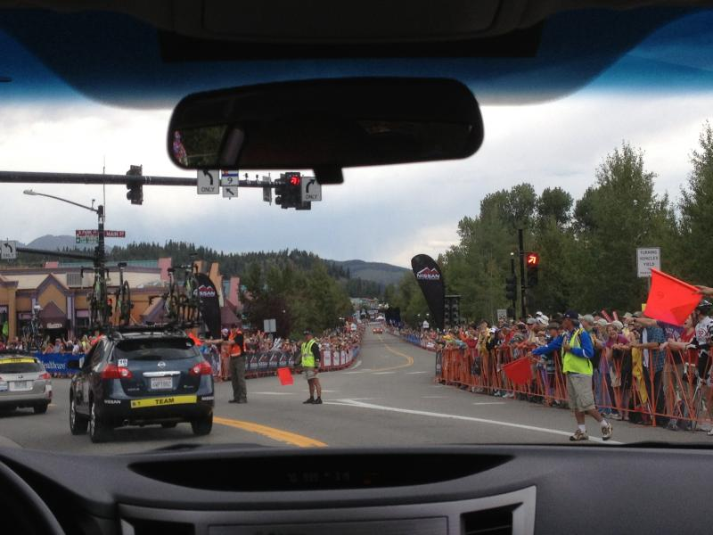 Team cars drive most of the course... but are flagged off just before the finish. Breckenridge, CO, August 20th, 2013.