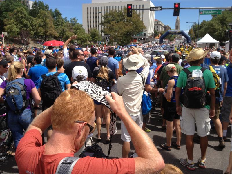 Spectators near the Colorado Stage Capitol and Civic Center Park in Denver, during Stage 7 of the 2013 USA Pro Challenge.