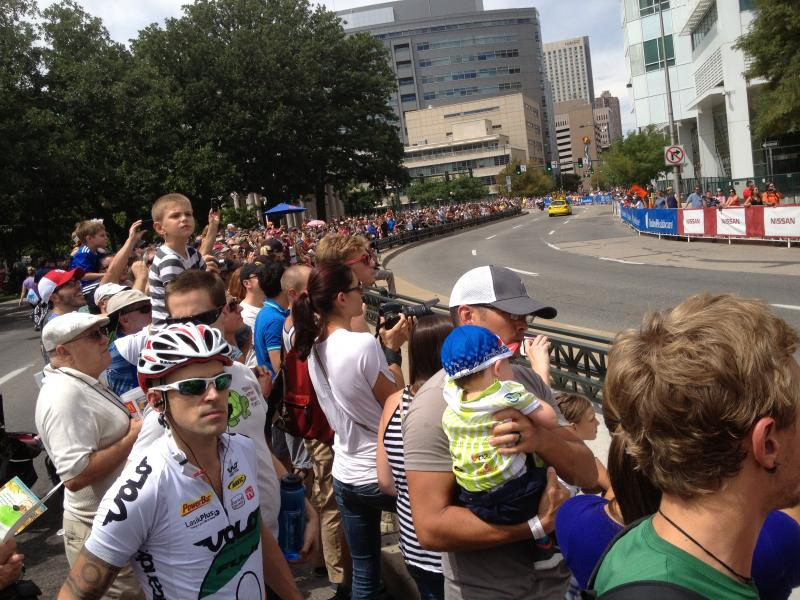 Spectators in Denver waiting for racers, Stage 7 of 2013 USA Pro Challenge.
