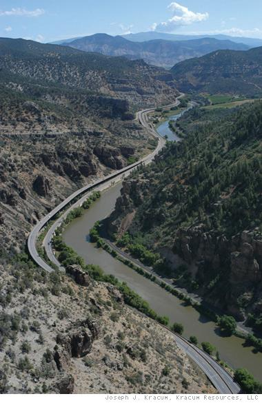 Today Interstate 70 weaves through Glenwood Canyon. It was an innovative project that took several years to complete.