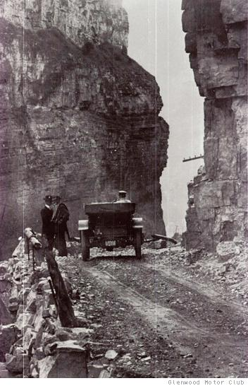 The first road through Glenwood Canyon was a primitive dirt road. This photo was taken in 1903.