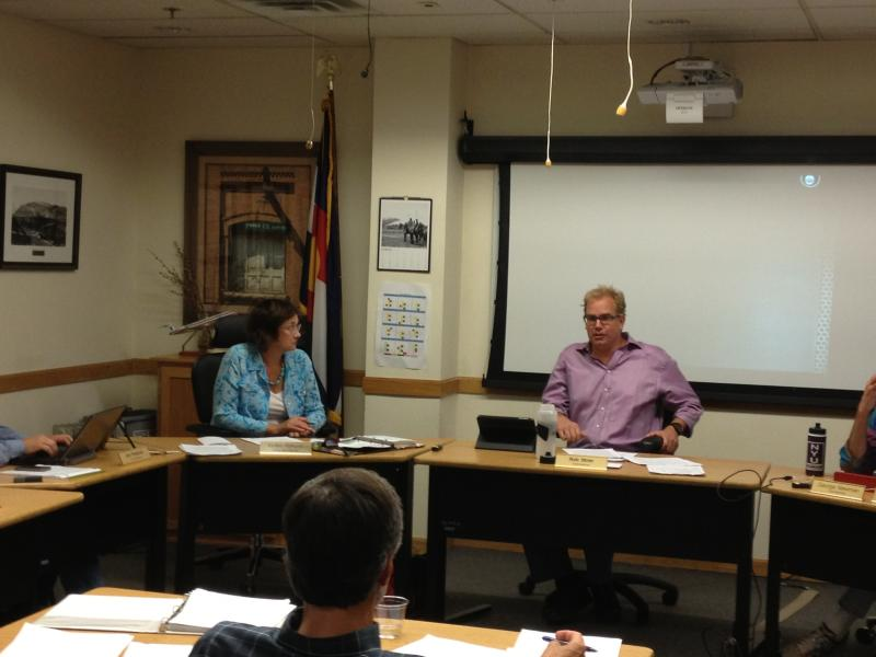 Pitkin County Commissioner Rachel Richards listens to Pitkin County Commissioner and Vice Chair Rob Ittner.