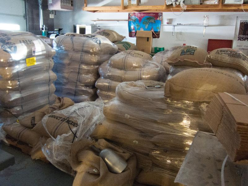 The stockroom holds around 50,000 lbs. of coffee beans. The supply will last 2 to 3 months.