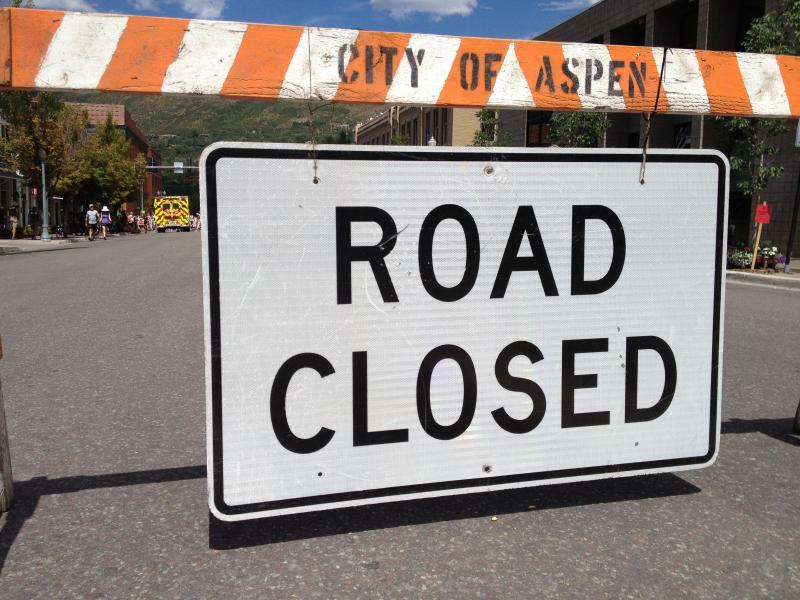 One of many road closures in Aspen during the 2013 USA Pro Challenge.