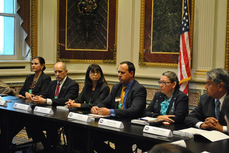 Members of the Commission at a briefing in the Indian Treaty Room at The White House, November 14, 2013.