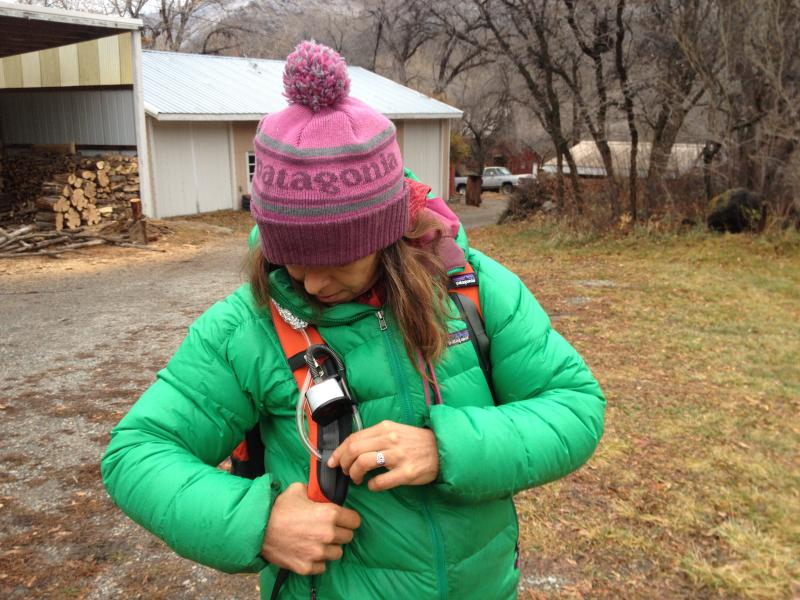 Alison Gannett examines part of her air sampling equipment.