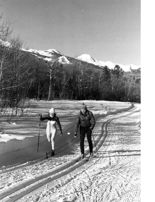 Craig and Becky Ward Nordic ski near Aspen in 1988.